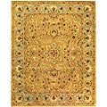 Handmade Classic Heirloom Beige Wool Rug (7'6 x 9'6)