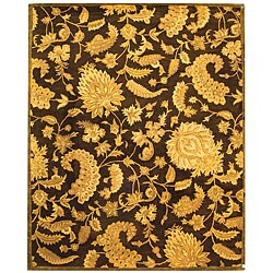 Handmade Classic Paisley Brown Wool Rug (6' x 9')