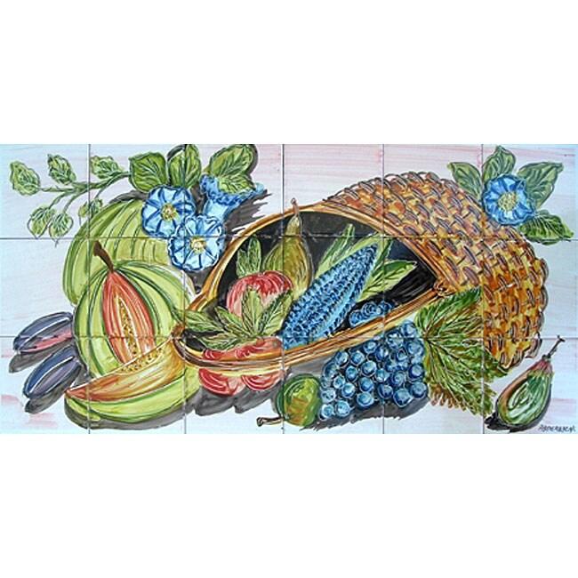 Backsplash decor 18 tile ceramic wall mural art for Ceramic mural designs