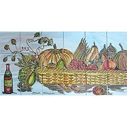 Horizontal Backsplash 18-tile Ceramic Wall Mural