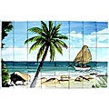 Mosaic 'Palm Beach View' 40-tile Ceramic Wall Mural