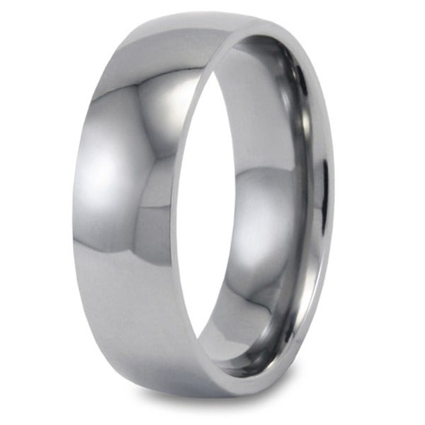 West Coast Jewelry Men's Titanium Highly Polished Domed Ring (7 mm)