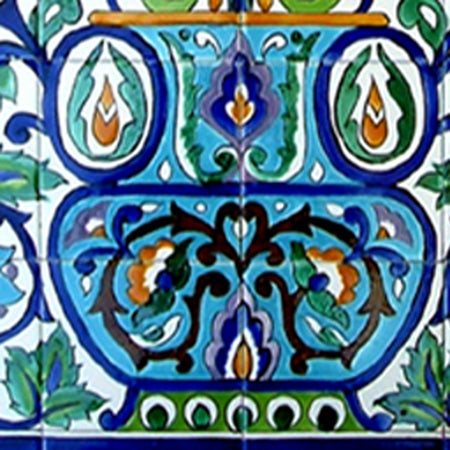 Arabesque-style Wall Decor 28-tile Ceramic Mural