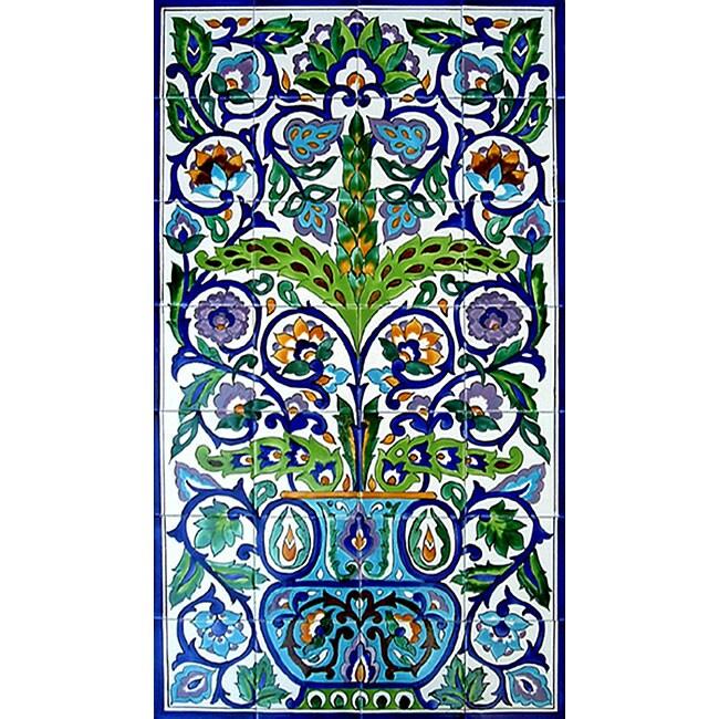 Arabesque style wall decor 28 tile ceramic mural for Decorative tile mural