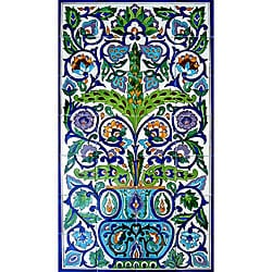 Arabesque-style Wall Decor 28-tile Ceramic Mural