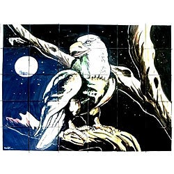 Mosaic Night Eagle View 30-tile Ceramic Wall Mural