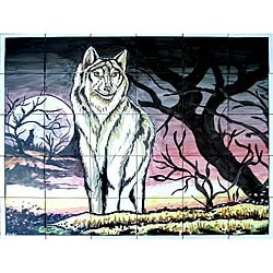 'Night Wolf' Scene Mosaic 30-tile Ceramic Wall Mural