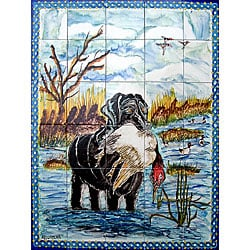 Mosaic 'Hunting View' 30-tile Ceramic Wall Mural
