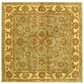 Handmade Heritage Kermansha Green/ Gold Wool Rug (6' Square)