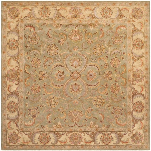 Safavieh Handmade Heritage Kermansha Green/ Gold Wool Rug (6' Square)