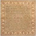 Handmade Heritage Kermansha Green/ Gold Wool Rug (8&#39; Square)