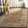 Handmade Heritage Shahi Brown/ Blue Wool Rug (8' Square)