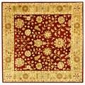 Safavieh Handmade Heritage Kashan Burgundy/ Beige Wool Rug (8' Square)