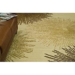 Handmade Soho Burst Beige New Zealand Wool Rug (6' Square)