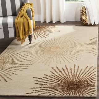 Handmade Soho Burst Beige New Zealand Wool Rug (8' Square)