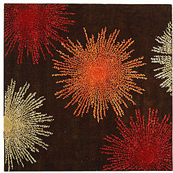 Handmade Soho Burst Brown New Zealand Wool Rug (6' Square)