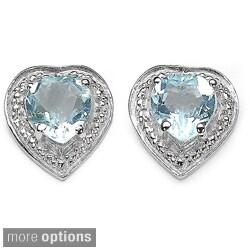 Malaika Sterling Silver Gemstone Heart Earrings