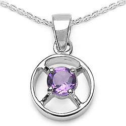 Malaika Sterling Silver Natural Amethyst Wheel Necklace