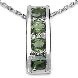 Malaika Sterling Silver Green Sapphire and Diamond Necklace