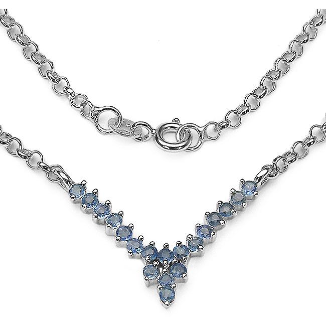 Malaika Silver Genuine Blue Sapphire Necklace