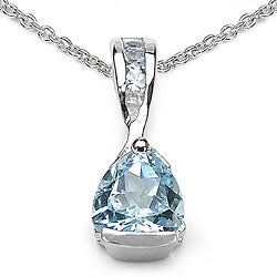 Malaika Sterling Silver Blue Topaz Teardrop Necklace