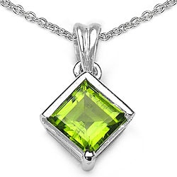 Malaika Sterling Silver Peridot Square Necklace