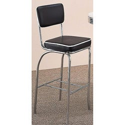Black Retro Chrome Upholstered Bar Stools (Set of 2)