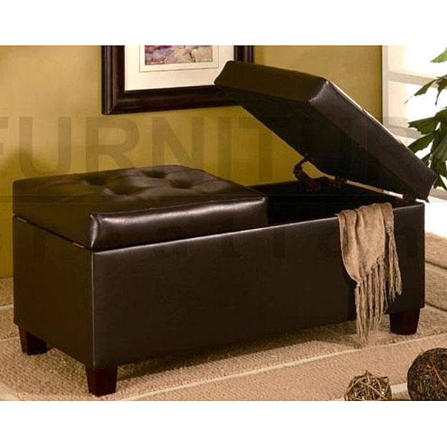 Dark Brown Tufted Storage Ottoman Bench