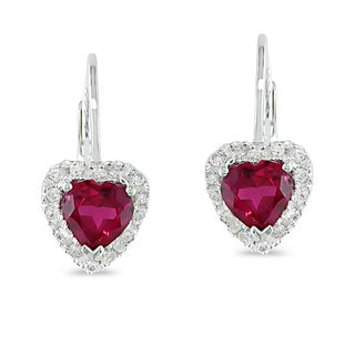 Miadora Silver 1/6ct TDW Created Ruby Heart Earrings