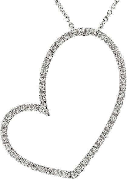 Silver 1/2ct TDW Diamond Open Heart Necklace (J-K, I3)