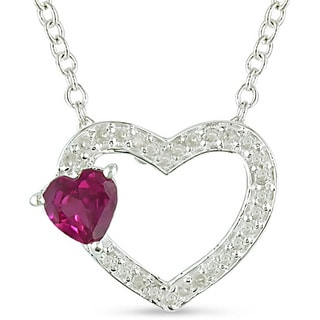 M by Miadora Silver Created Pink Sapphire and 1/8ct TDW Diamond Necklace (J-K, I3)