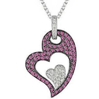 Miadora Silver 1/4ct TDW Diamond Created Sapphire Heart Necklace
