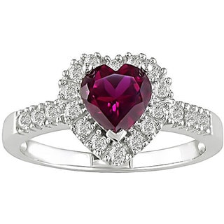 M by Miadora Sterling Silver Created Ruby and 1/10ct TDW Diamond Heart Ring