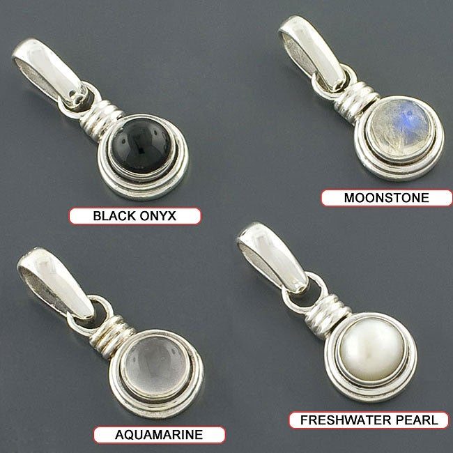 Sterling Silver Cabochon Gemstone or Freshwater Pearl Pendant (India)