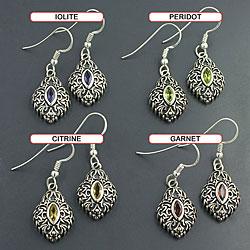 Sterling Silver 'Ethnic' Multi-gemstone Dangle Earrings (India)