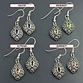 Sterling Silver 'Ethnic' Multi-gemstone Dangle Earrings (India)