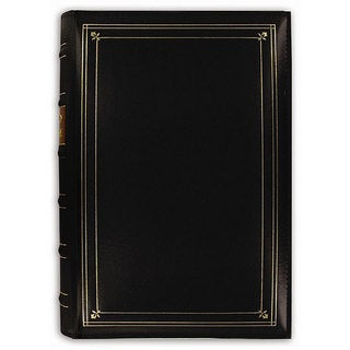 Pioneer European Bonded Black Leather 3-ring Bi-directional Memo Album with 60 Bonus Pockets