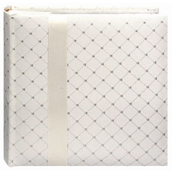 Pioneer Ivory Diamond Fabric with Ribbon Trim Cover Designer Page Memo Albums (Pack of 2)