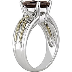 Miadora 10-karat Gold and Sterling Silver Oval-cut Garnet Ring