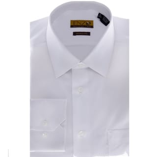 Enzo Tovare Men's Solid White Barrel-cuffed Dress Shirt