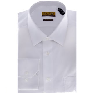 Men's Solid White Barrel-cuffed Dress Shirt