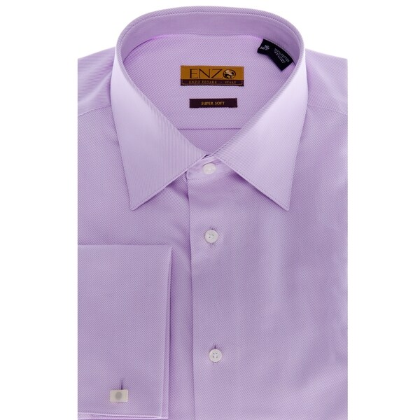 Men 39 S Lavender French Cuff Twill Dress Shirt 11892469