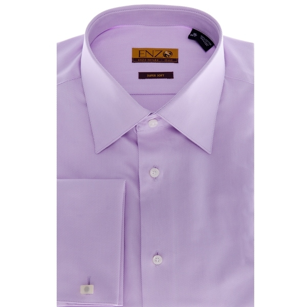 Men's Lavender French Cuff Twill Dress Shirt 17.5 x 34/35 Size(As Is Item)
