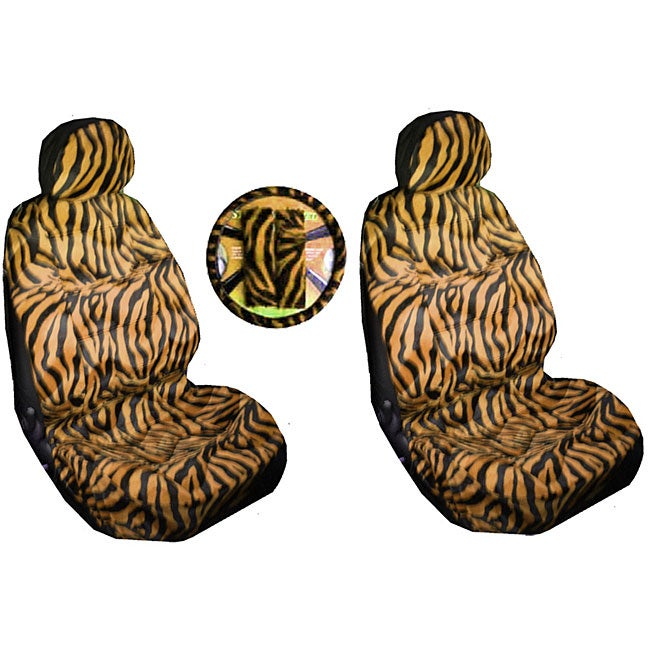 Tan Zebra Tiger Print 7-piece Car Accessories Set