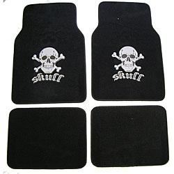 Grey Skull and Crossbones Car/ Truck Floor Mat Set