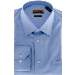 Enzo Tovare Men's Blue Twill Barrel-cuff Dress Shirt