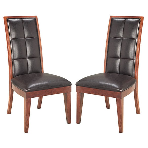 Biscuit Back Leather-Wood Dining Chair (Set of 2)