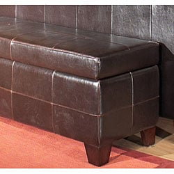 Chocolate Leather Storage Bench