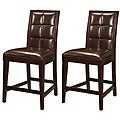 Biscuit-Back Leather-and-Wood Brown Counter Stool (Set of 2)