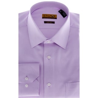 Enzo Tovare Men's Lavender Barrel-cuffed Twill Dress Shirt